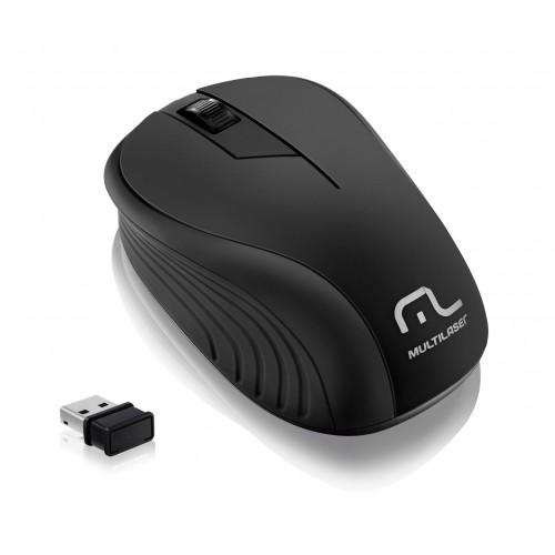 Mouse Sem Fio Emborrachado Óptico Wave USB 1200dpi Preto Multilaser MO212